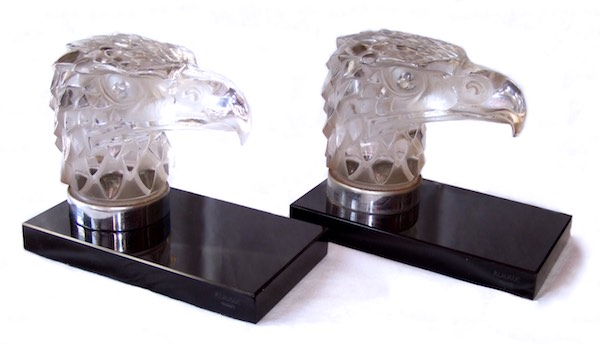 R Lalique. LALIQUE EAGLE BOOKENDS