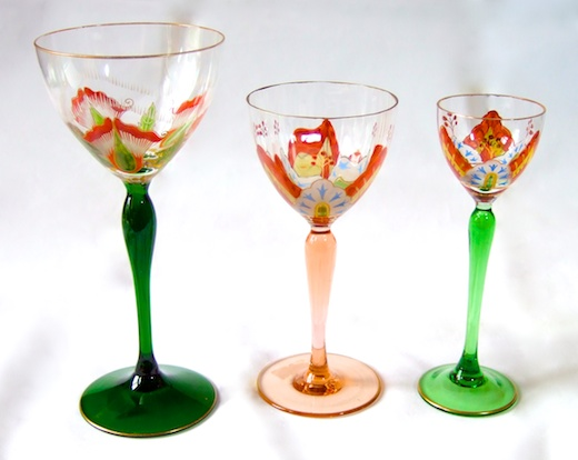 Enamelled Glass Legras Fritz Heckert Theresienthal. POSCHINGER TRIO