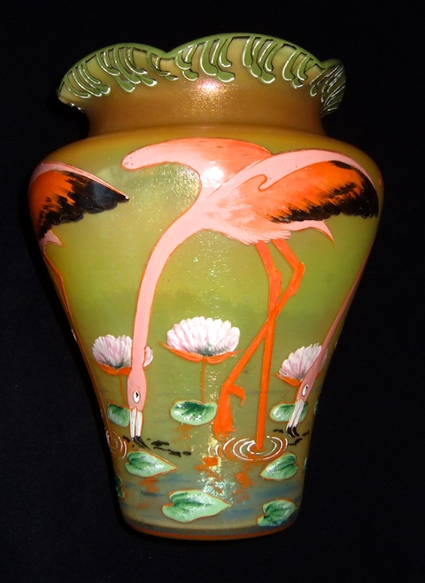 Enamelled Glass Legras Fritz Heckert Theresienthal. HECKERT Flamingo2