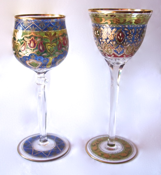 Enamelled Glass Legras Fritz Heckert Theresienthal. FRITZ HECKERT pair